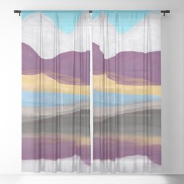 Dream Mountain / colorful mountains/ abstract layers/ purple  Sheer Curtain