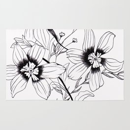 ' FLORAL ' flower drawing Rug