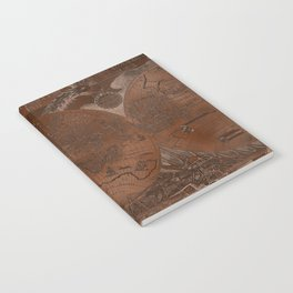 Rose gold and copper antique world map with sail ships Notebook