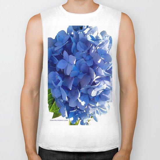 Blue Hydrangia Flower Blossom Biker Tank