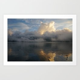volcano lake clouds Art Print