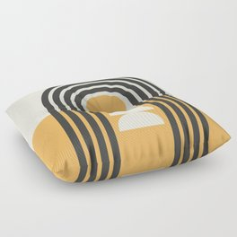 Geometric Lines in Gold and Black (Rainbow and Sunrise Abstract) Floor Pillow