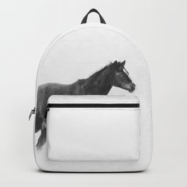 Running Horse in Black and White Backpack