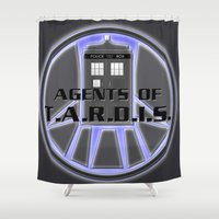 agents of shield Shower Curtains featuring Agents of TARDIS Doctor Who Agents of Shield Mash Up by Whimsy and Nonsense