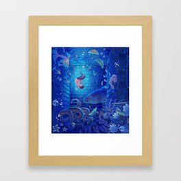 A Sea of Books Framed Art Print