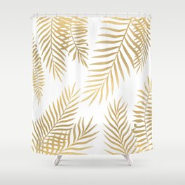 Gold palm leaves Shower Curtain