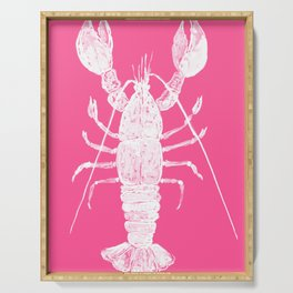 Pink lobster, Red Lobster  watercolor painting, sea animal art, kitchen art Serving Tray