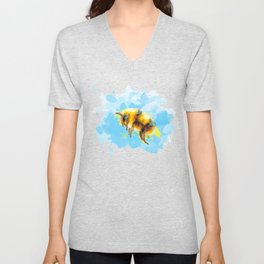 Bumble Away Bumble Bee - Insect Illustration Unisex V-Neck