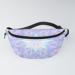 Purple, Teal, White Aura Mandala Fanny Pack