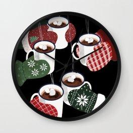 Hot cocoa toast in black Wall Clock