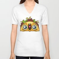 taco V-neck T-shirts featuring Excited Taco by Artistic Dyslexia