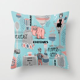Prohibition Era, Cocktails, Anyone? Throw Pillow