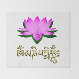 Lotus flower, om symbol and mantra 'om mani padme hum' Throw Blanket