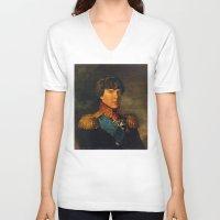 benedict V-neck T-shirts featuring BENEDICT by John Aslarona