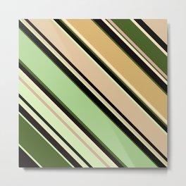 Striped pattern, diagonal.Brown, beige, green ,black stripes. Metal Print