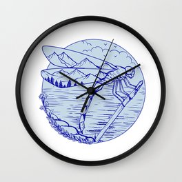Dragonfly Mountains In Wings Drawing Wall Clock