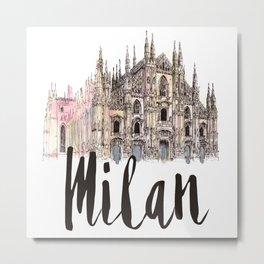 Milan watercolor Metal Print