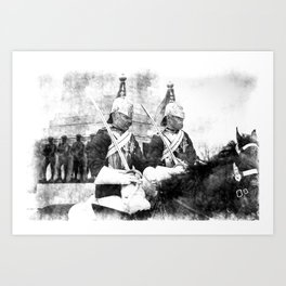 Household Cavalry Changing Of The Guard Vintage Art Print