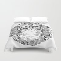 monkey Duvet Covers featuring Monkey by Cherry Virginia