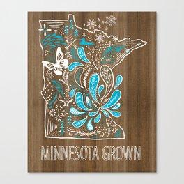 Minnesota Home Grown State Art Blue Style  Canvas Print