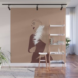 Girl with feather, feminine illustration Wall Mural