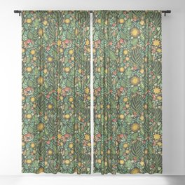 Sunshine Botanical - Dark Version Sheer Curtain
