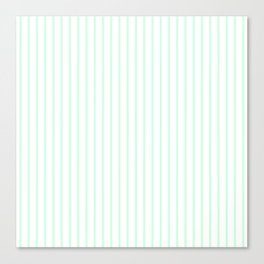 Summermint Green Pinstripe on White Pattern Canvas Print
