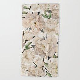 Peonies Pattern Beach Towel