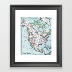 Colorful Vintage North America Map Framed Art Print