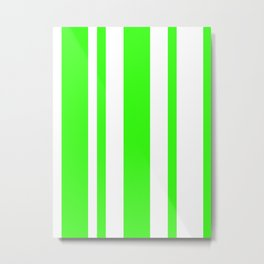 Mixed Vertical Stripes - White and Neon Green Metal Print