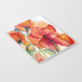 Tangerine Orange Poppy field WaterColor by CheyAnne Sexton Notebook