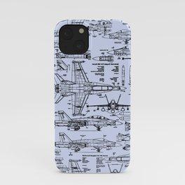 F-18 Blueprints // Light Blue iPhone Case