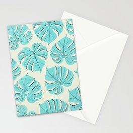 Monstera leaf pattern in pastel blue Stationery Cards