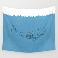 the whale Wall Tapestries featuring Whale by David Penela