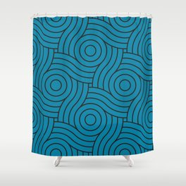 Circle Swirl Pattern VA Primary Blue - Wishing Well Blue - Amazing Sky Blue - Blue to the Bone Shower Curtain