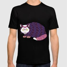 Abstract Cat [WHITE] MEDIUM Black Mens Fitted Tee