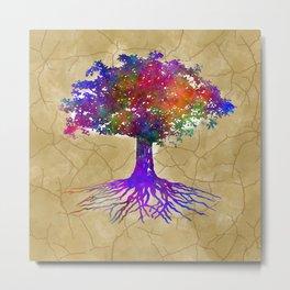 Tree Of Life Batik Print Metal Print