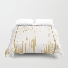 Rustic wooden texture. White and gold antique wood. Duvet Cover