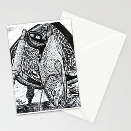 """""""Catch & Release"""" Trout Fly Fishing Art Stationery Cards"""