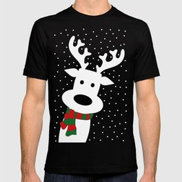 Reindeer in a snowy day (green) T-shirt