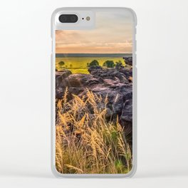 Sunset and Smoke from Controlled Burning at Ubirr Rock, Australia. Clear iPhone Case