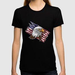 Patriotic Bald Eagle Head   Stars and Stripes Flag T-shirt