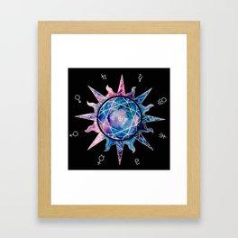 Crystal Sun | Planet Symbol | Watercolor Framed Art Print
