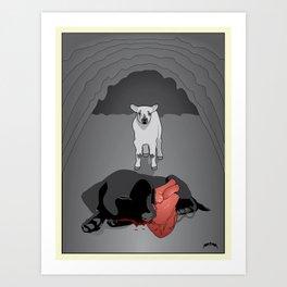 The Lamb and the Labrador Art Print