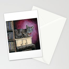 Brown Tabby Cat sitting on Music Box Stationery Cards