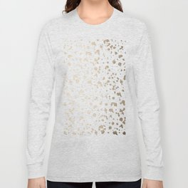 Luxe Gold Painted Dots on White Long Sleeve T-shirt