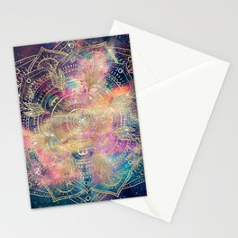 Stylish Gold mandala watercolor & Nebula Colorful Design Stationery Cards