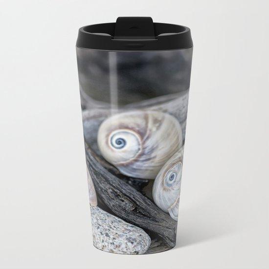 Shark's eye shells and driftwood Metal Travel Mug
