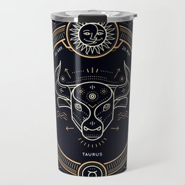 Taurus Zodiac Gold White Black Background Travel Mug