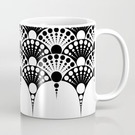 black and white art deco inspired fan pattern Coffee Mug